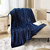 Lynnlov Decorative Soft Fur Fleece Throw Blanket for Couch 50' x 60', Luxury Plush Lightweight Flannel Blankets, Accent Warm Cozy Chic Microfiber Velvet Lap Blanket for Sofa Bed, Washable, Navy Blue