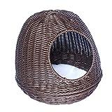 Tondo Nest Pet Confortevole Tessuti a Mano del Cane, Portatile Animali di Piccole Dimensioni Camera Habitat - Facile Lavabile 36 × 36 × 33 Centimetri (Color : Brown)
