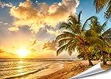 PMP-4life Décoration Murale Plage dans la Barbade coucher de soleil HD Poster XXL 140cm x 100cm...