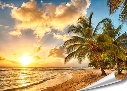 PMP-4life XXL Poster Strand in Barbados bei Sonnenuntergang HD 140cm x 100cm Hochauflösende Wanddekoration Bild für Wandgestaltung Wandbild   Fotoposter Karibik Sonne Sommer Palmen  