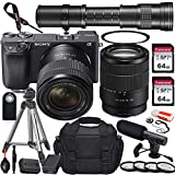 Sony Alpha a6400 Mirrorless Digital Camera with 18-135mm and 420-800mm Telephoto Lens + 2X 64GB Memory Card, UV & Close-up Filters, Microphone, Portable Tripod, Gadget Bag & More