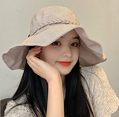 BANYANU Sombrero para El Sol Femenino, Sombreros De Pescador, Moda De Primavera Y Verano para Mujer, Protección Solar De Todo Fósforo, Sombrero De ala Grande,Caqui