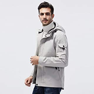 D&DL Large Size Spring and Autumn Windproof Jacket Men and Women Ski Suit Plus Velvet Padded Cotton Jacke Outdoor Softshell Coat-Light Gray,7XL
