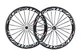700c wheelset carbon - Superteam Carbon Fiber Road Bike Wheels 700C Clincher Wheelset 50mm Matte 23 Width (White Decal)