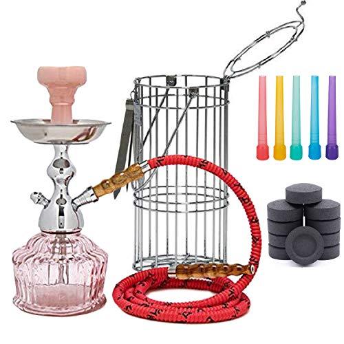"""MYA Hookah Set Qt 14"""" Includes 10 Coals 50 Hookah Tips by VeeBoost (Pink)"""