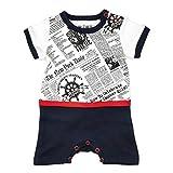 NINI Baby Strampler Jungen weiß blau | Motiv: Maritim | Baby Spieler aus Bio Baumwolle für Neugeborene & Kleinkinder | Größe: Newborn (56)