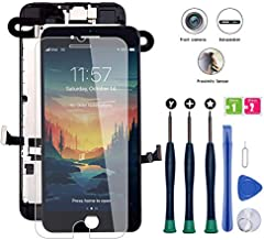 for iPhone 8 Screen Replacement, LCD Display 3D Touch Screen Digitizer Full Assembly with Proximity Sensor, Ear Speaker and Front Camera (Screen Replacement for iPhone 8 Black)