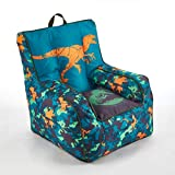 Jurassic World 2 Kids Nylon Bean Bag Chair with Piping & Top Carry Handle, Blue, 18' H x 18' W
