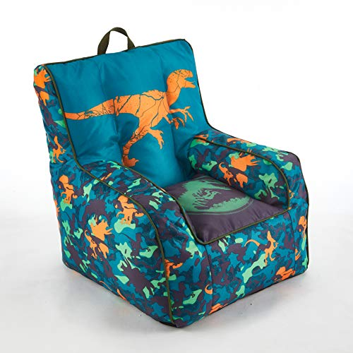 Jurassic World 2 Kids Nylon Bean Bag Chair with Piping amp Top Carry Handle Blue 18quot H x 18quot W
