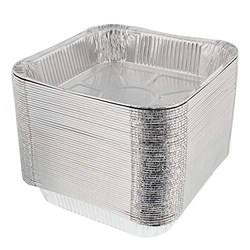 Lot45 Aluminum Catering Pan, 8 x 8in, 50pk - Disposable Aluminum Tray Foil Pans, Oven Pans Grill Drip Pans for Catering