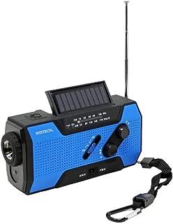 WINTECH 防滴手回し充電 FM/AMポータブルラジオ KDR-201CWP LEDライト搭載 ブルー 携帯充電(MicroUSBケーブル、タイプCアダプタ付属) 乾電池対応 ソーラー充電