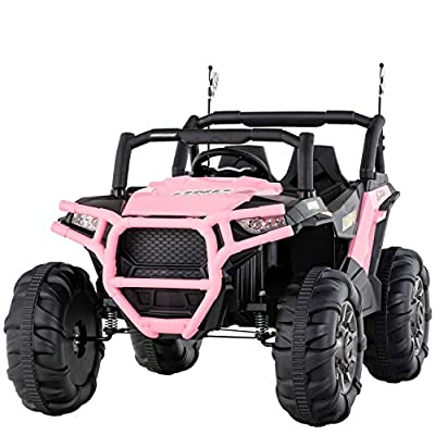 Uenjoy 12V Electric Ride on Cars, Realistic Off-Road UTV, Two Seater Ride On Truck, Motorized Vehicles for Kids, Remote Control, Music, 3 Speeds, Spring Suspension, LED Light (Pink)