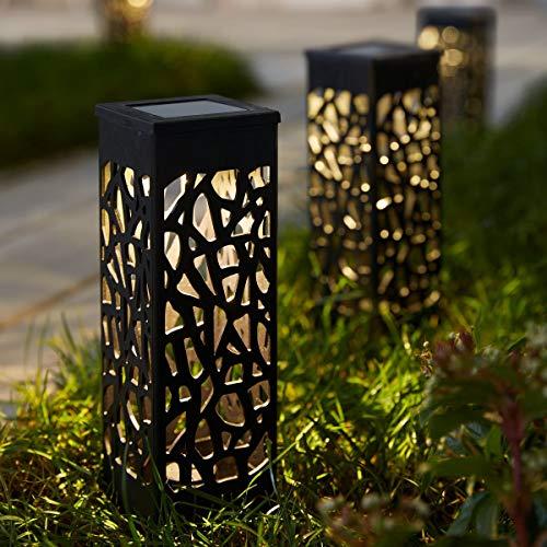 Pureday Solarleuchten Garden Lights 2er Set - Gartenstecker - Schwarz - Höhe je ca. 18 cm