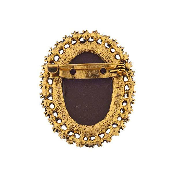 Lux Accessories Antique Vintage Brown Cameo Brooch Burnished Gold Paver Stones 4