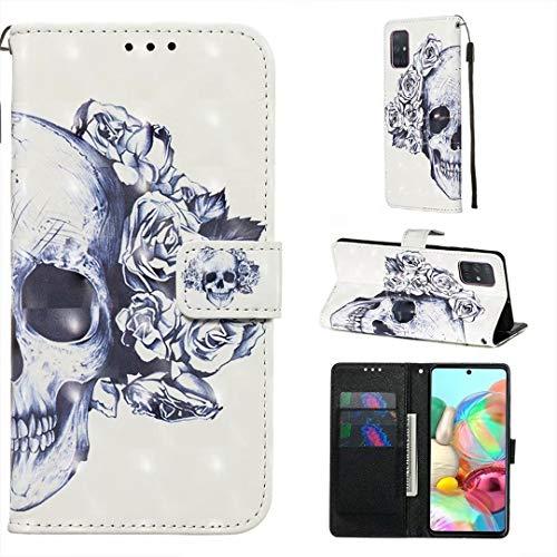 WJMWF Hoesje voor Samsung Galaxy A71 3D Patroon PU lederen Portemonnee Flip Cover Magnetische Sluiting,met Kaartsleuf…