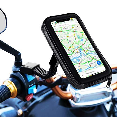 Soporte movil Moto Bicicleta Bici sujecion a Espejo retrovisor con Funda Impermeable Valida para telefonos de hasta 7' Soporte móvil Moto Soporte para movil Bicicleta Moto