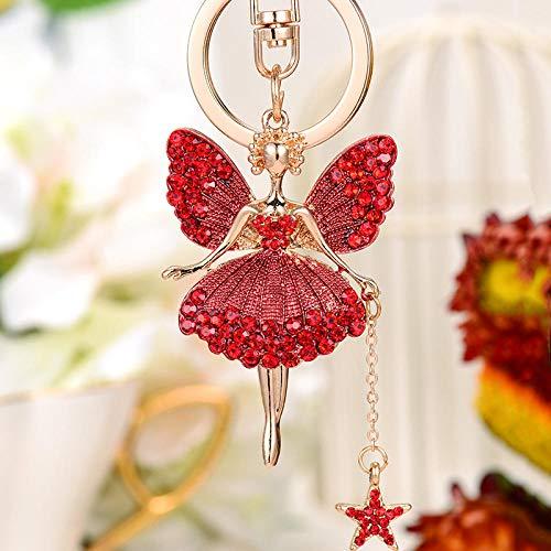 Sinzong sleutelhanger voor dames, sleutelhanger, strass, vlinder, fee, sleutelring, engel, hanger, ballerina, legering, sleutelhanger, 2 stuks rood