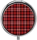 Plaid Nostalgic Striped Pattern von British Country Constrasting Colors Scharlachrot Schwarz Weiß Pillenetui Travel Pill Box