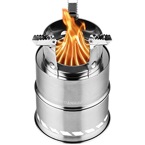 CANWAY Camping Stove, Wood Stove/Backpacking Stove,Portable Stainless Steel Wood Burning Stove with...