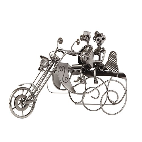 """BRUBAKER Wine Bottle Holder Statue""""Couple On A Motorcycle"""" Sculptures and Figurines Decor & Vintage Wine Racks and Stands Gifts Decoration"""