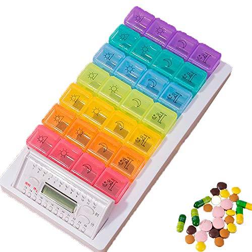 Intelligente 28-Grid elektronische pillendoos, 1 week verdeelde tijdwekker Ouderen Draagbare draagbare medicijnherinnering Vocht- en stofdicht, Regenboogkleuren,B