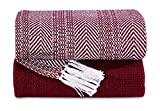 Luxurious Hand Woven Cozy Warm Combed Cotton All Season Indoor Outdoor Light Weight Fade Resistant Couch Chair Bed Throw Blankets Batik 50x60 Inch Set of 2 (Burgundy )