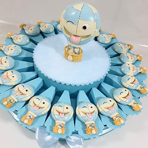 Bigliettini o Confetti o Torta bomboniere per Eventi Battesimo, Compleanno, Comunione e cresimaa (Torta bomboniera Mongolfiera Magnete Celeste)