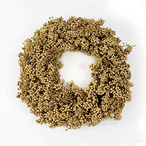 artplants.de Künstlicher Beerenkranz, Ø 45cm, Gold - Weihnachten Deko - Weihnachtskranz - Türkranz