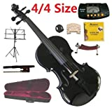 Merano 4/4 Size Full Black Student Violin with Case and Bow+Extra Set of String, Extra Bridge, Shoulder Rest, Rosin, Metro Tuner, Music Stand, Mute