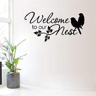 Ajcwhml Bienvenido a Nuestro Nido pájaro Arte murales de Pared pájaro Flor Animal Tela Negro 42X87cm