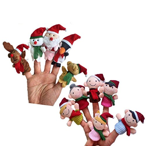 iLH Novelty Finger Puppets,11PCS Christmas Santa Claus and Friends Finger Puppets Toy for Kids Children,Playtime, Schools,Sleep Shows