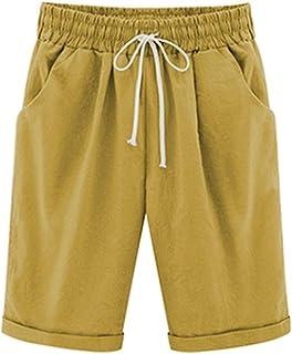 e6c255688d7a1 WSLCN Femme Bermudas Shorts Décontractée Coton Lin Shorts Casual Pantalon  Été Hot Pantacourts Coupe Grande Taille