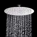 Anruo - Alcachofa de ducha redonda de acero inoxidable de 8 pulgadas con lluvia
