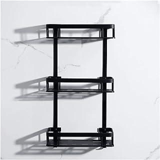 QingH yy Antirouille Coin Noir tablettes de Rangement Support Mural Douche Organisateur Salle de Bain Etagère en Aluminium...