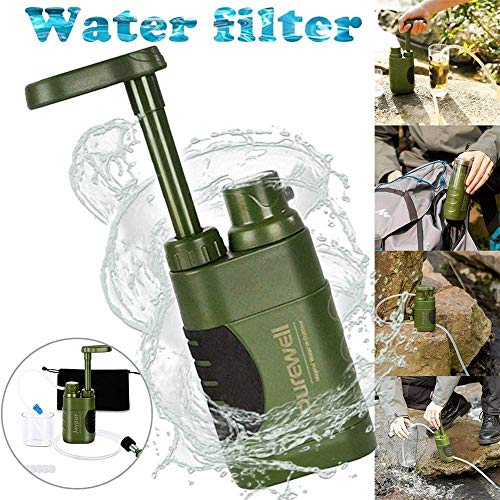 LEYU Purificateur d'eau de plein air pour la survie d'urgence de survie Filtre à eau portable Mini outil de filtre pour activités de plein air Purificateur d'eau
