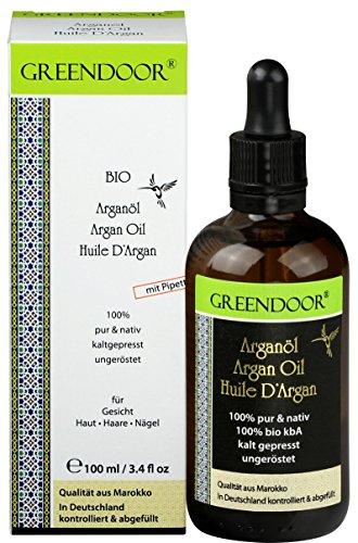 Greendoor REINES Bio Arganöl, Pipettenflasche 100ml pur nativ kaltgepresst natürlich ungeröstet, Haaröl ohne Silikon, Argan Öl für Haare Haut Nägel Gesicht, Naturkosmetik vegan Feuchtigkeit anti aging
