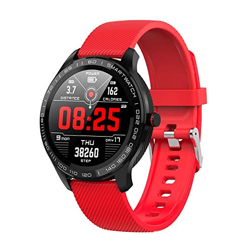 L9 ECG Smart Horloges Heren Volledige Ronde Multi-Touchable Smartwatch IP68 Sport Horloges Voor Mannen Bluetooth Herinnering/Muziek,Red