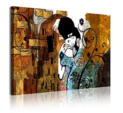 DekoArte 322 - Cuadros Modernos Impresión de Imagen Artística Digitalizada | Lienzo Decorativo para Tu Salón o Dormitorio | Estilo Abstractos Arte Gustav Klimt El Beso | 1 Pieza 120 x 80 cm