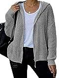 PDYLZWZY Chaqueta de punto con capucha para mujer, cuello en V, manga larga, con cordón de ajuste ligero, gris, S