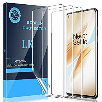 LK 3 Pack Screen Protector Compatible with OnePlus 8 6.5-inch Ultrasonic Fingerprint Compatible Flexible TPU Film HD Transparent Case Friendly