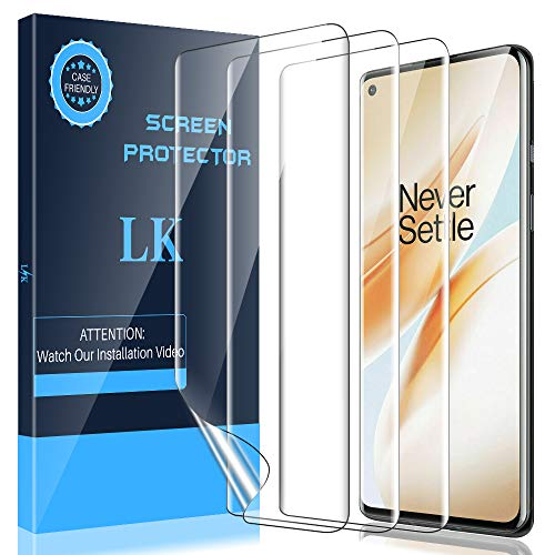 LK [3 Pack] Screen Protector for Oneplus 8, [Ultrasonic Fingerprint Compatible] Flexible TPU Film HD Clear, Anti-Scratch, Case Friendly