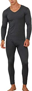 Lovexotic Men's Ultra Soft Long Johns Set, V-Neck Lined Seamless Thermal Underwear, Long Sleeve Base Layer with Fleece Lined