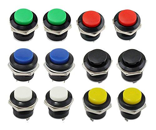 12pcs 16mm pulsador interruptor AC 250V/3A 125V/6A ON/OFF momentáneo Mini pulsador Interruptor de alimentación Rojo/Verde/Amarillo/Azul/Negro/Blanco