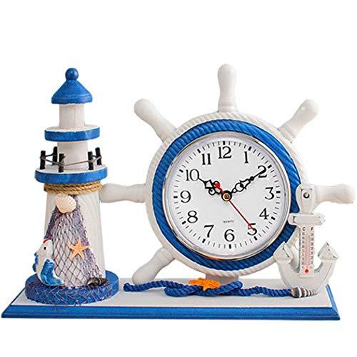S.W.H Holz Mediterrane Kunstuhr Shabby Chic Leuchtturm Ornament Kinder Tischuhr für Badezimmer Küche