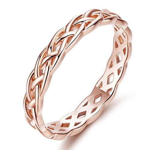 SOMEN TUNGSTEN 925 Sterling Silver Celtic Knot Eternity Band Ring Rose Gold Engagement Wedding Band 4mm Size 9