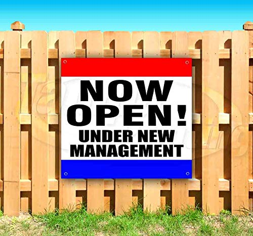 Now Open! Under New Management 13 oz Heavy Duty Vinyl Banner Sign with Metal Grommets, New, Store, Advertising, Flag, (Many Sizes Available)