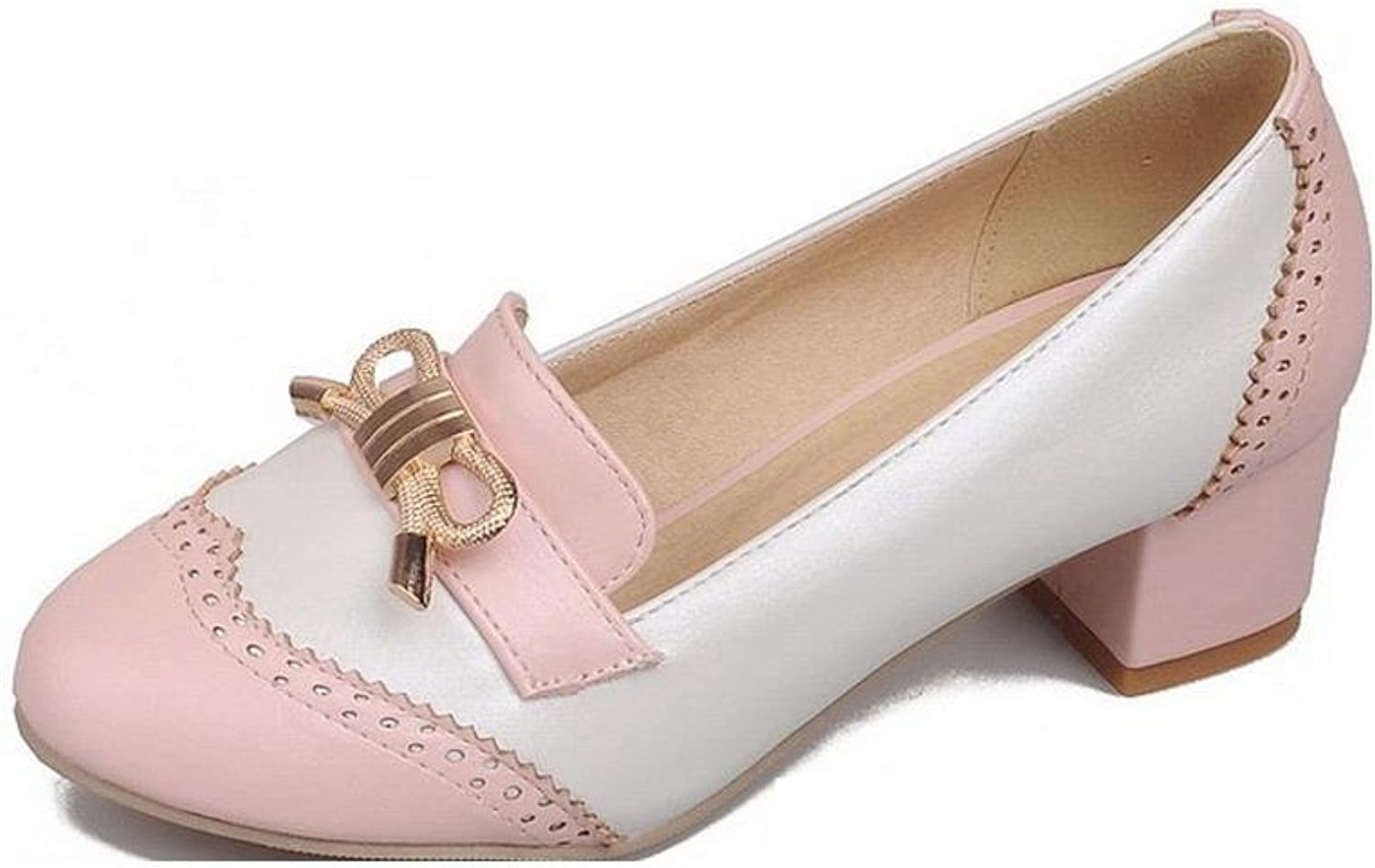 AllhqFashion Women's Assorted color PU Low-Heels Round Closed Toe Pull-on Pumps-shoes