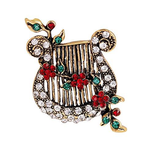 pengyu Broschennadeln, Vintage-Stil, Blume, Ranke, Lyra, Musikinstrument
