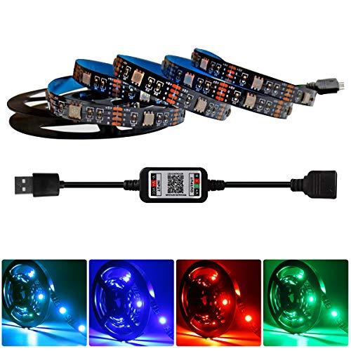 Tesfish LED Streifen leuchten RGB 2 Meter Lichtleisten 5V USB LED Flexible Seilleuchten Hintergrundbeleuchtung mit Bluetooth Controller Telefon App Steuerung für TV, Schrank, Regal, Heimdekoration