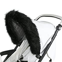Luxurious black faux fur pram hood trim Universal design Elasticated hook fitting Can fit any size pram or pushchair hood All products thoroughly and rigorously safety tested, FREE 1 year guarantee